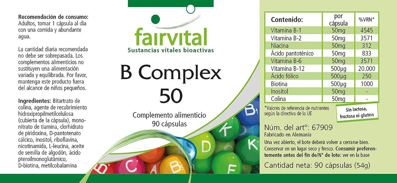 complejo B 50 - GRANEL durante 3 meses - VEGAN - ALTA DOSIS - 90 cápsulas - complejo de la vitamina B con colina e inositol: Amazon.es: Salud y cuidado ...