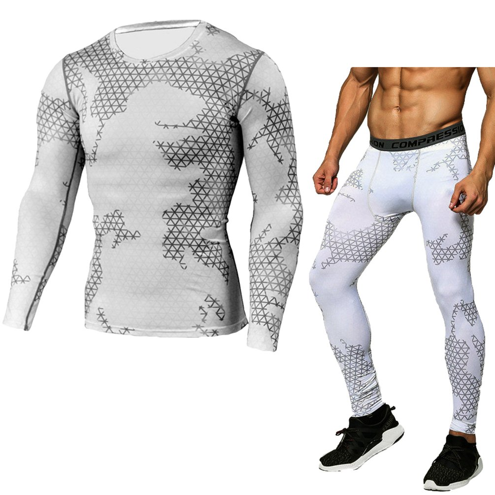 YiJee Mens Quick Dry Fitness Compression Base Layer Skin Tights Long Sleeve Top and Pants Set