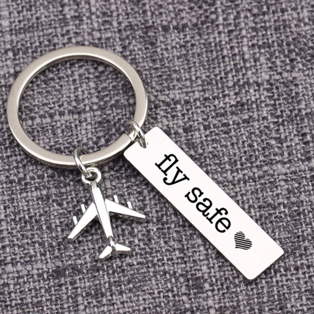 LWANFEI Fly Safe Brief Schl/üsselanh/änger Flugzeug Form Keychain F/ür M/änner Papa Ehemann Freund Pilot Freunde Geschenke Schl/üsselanh/änger