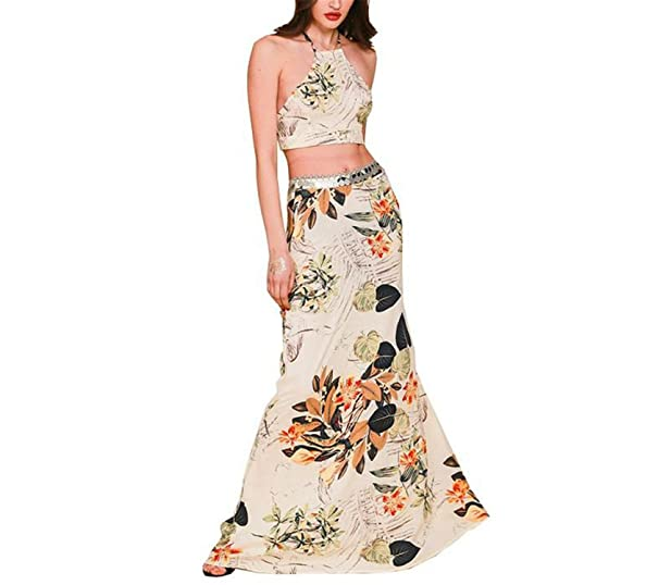 SuperBlu Fashion Apparel NEW summer boho style Flower print long dress Two pieces backless halter cross