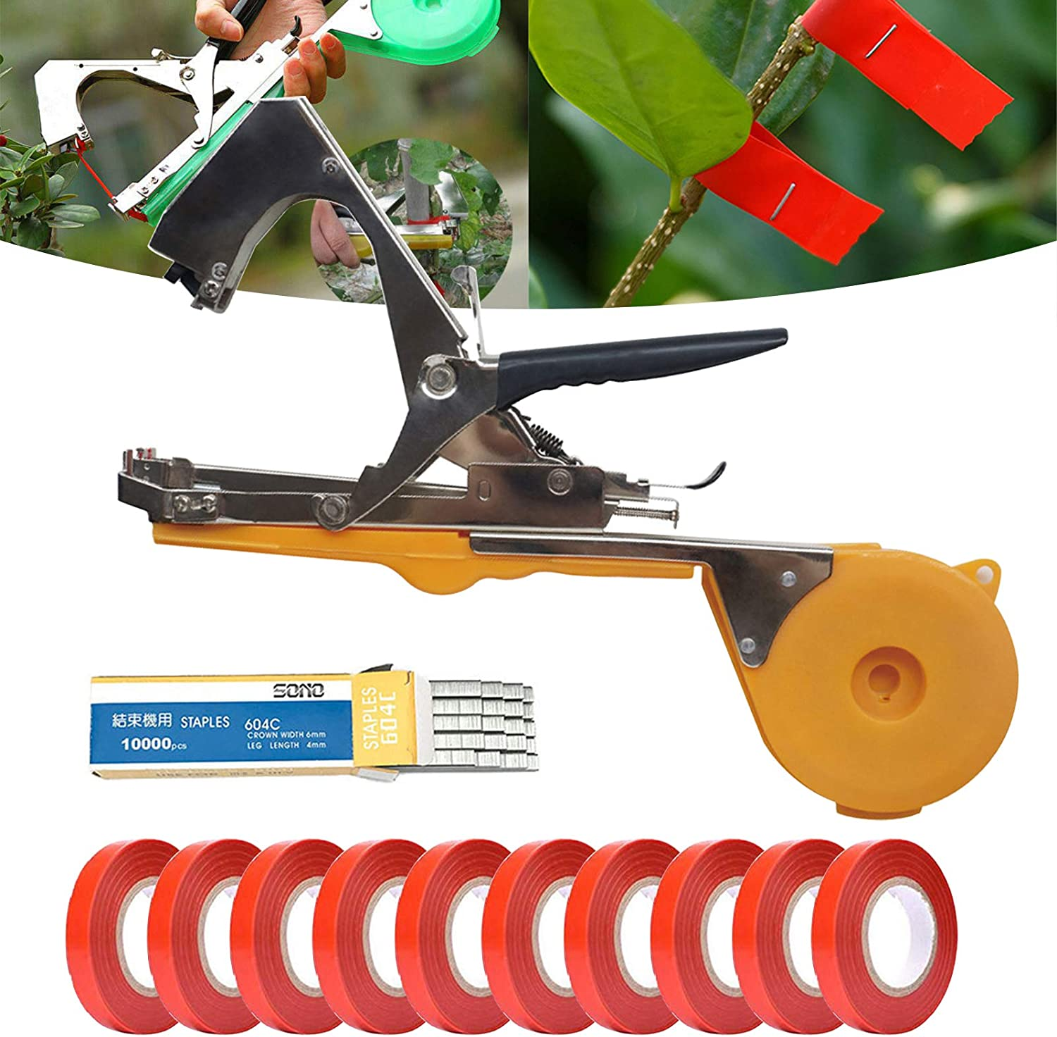 Bili-silly Hand Plant Tying Machine Agriculture Tool for Garden Plant Tool Vineyard Tool Garden Vine Tying Tape Plant Comes with Tapes, Staples Yellow
