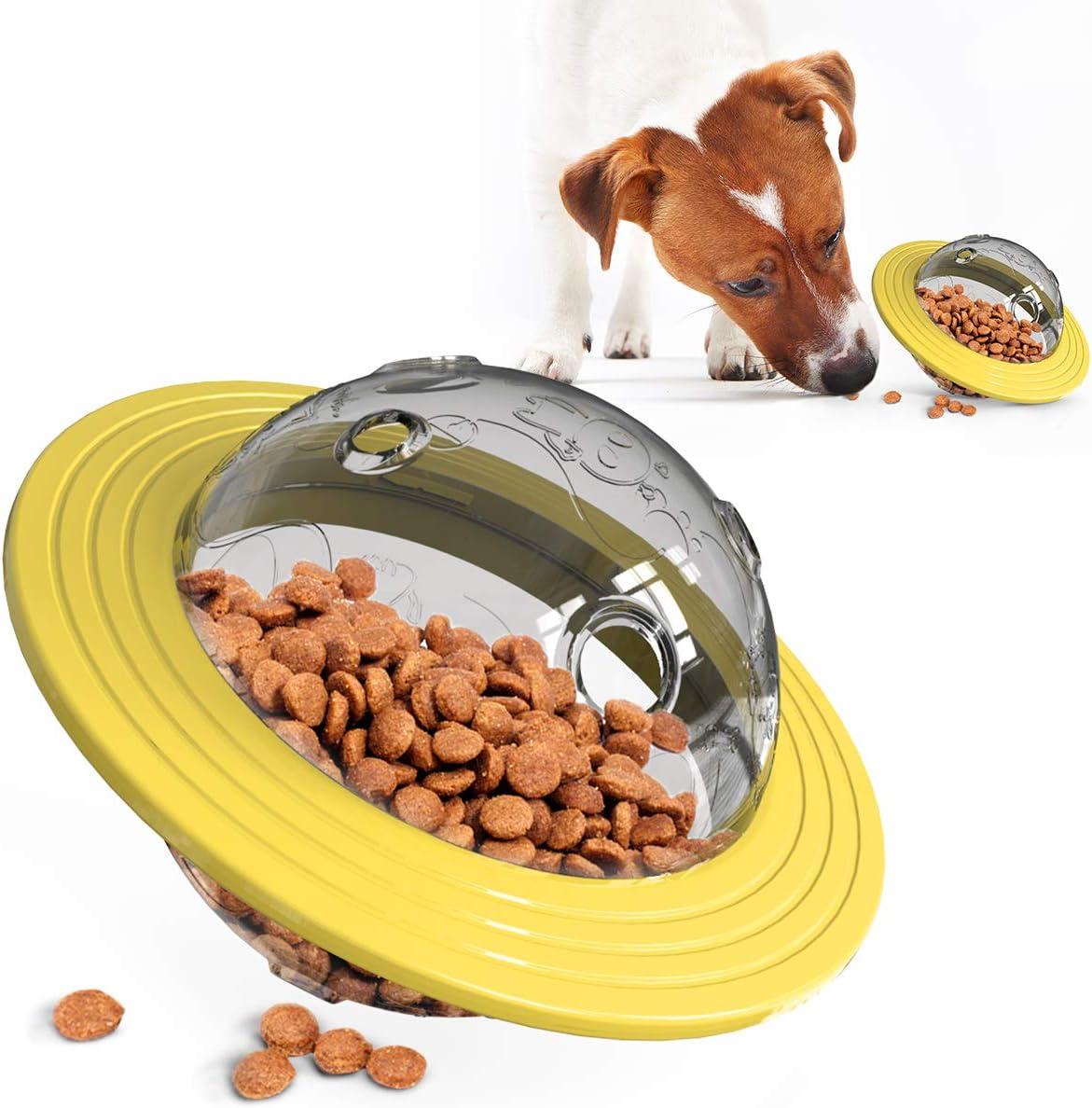DOITPE Dog Treat Ball UFO Food Dispenser Puzzle Slow Feeder Ball, Interactive Dog Frisbee Toy (Yellow)
