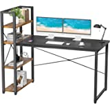 Foxemart 55 Inch Computer Desk with Storage Shelves Reversible Modern Writing Home Office Desks, 55'' Space-Saving Gaming Stu