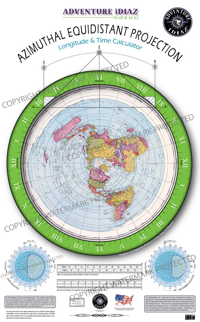 Azimuthal Equidistant Projection Of The World Flat Earth Map No