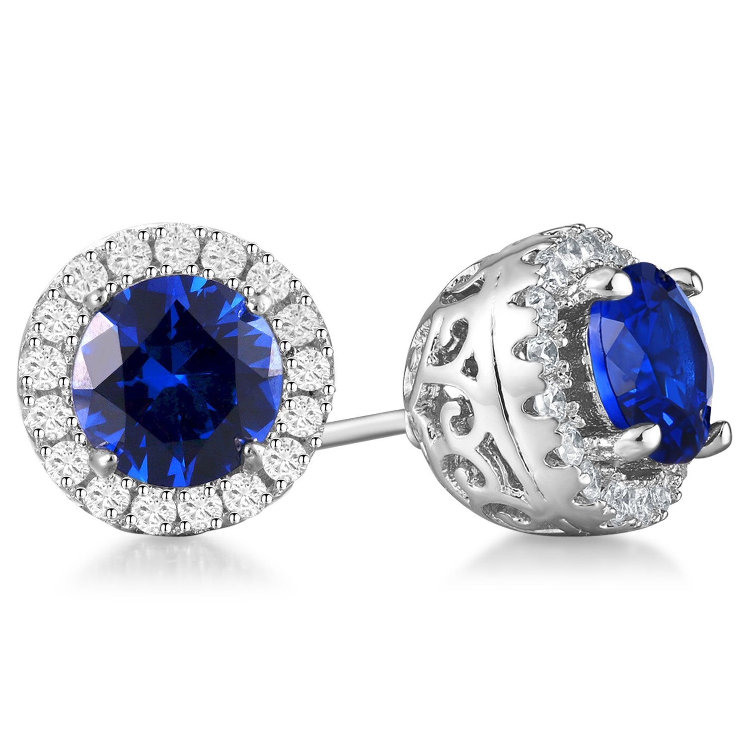 1bba155342724 Amazon.com  Vibrille 6mm Round Created Blue Sapphire Sterling Silver Stud  Earrings for Women with Cubic Zirconia Halo  Jewelry