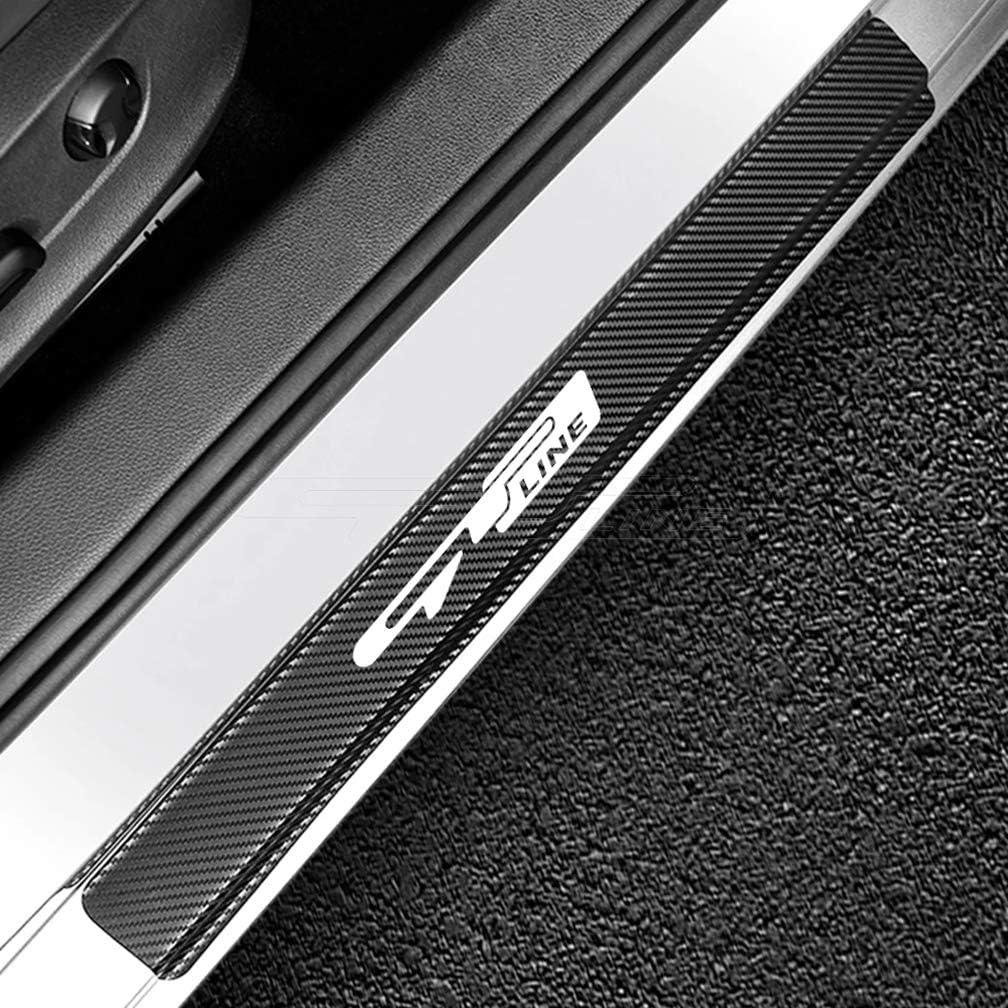 AKKNE 4Pcs Carbon Fiber Door Sills Scuff Kick Plate for KIA GT LINE SELTOS SORENTO Sportage TELLURIDE Threshold Pedal Decoration Sticker Guard Trim Decal Car Styling Accessories