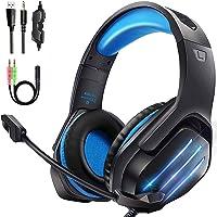 Gootoop Auriculares Gaming, Cascos Gaming PS4, 3D Sonido con Micrófono para PS4 PC Xbox One, Cascos Gaming con Luz LED y…