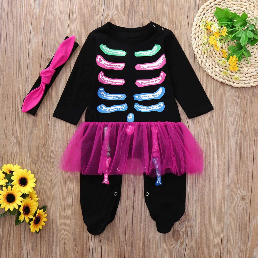 Hstore Baby Boys Girls Romper Halloween Colorful Bone Print Jumpsuit+Headbands Clothes