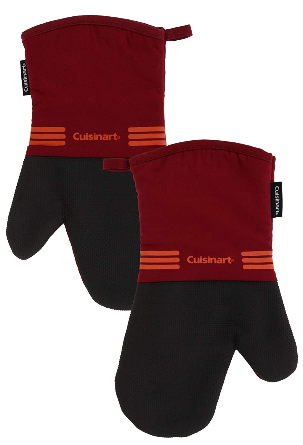 Cuisinart Oven Mitt Set with Neoprene for Easy Gripping, Heat Resistant up to 500 Degrees F, Salsa Red