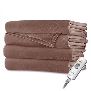 "Sunbeam Velvet Plush Heated Throw Blanket 60"" x 50"" (Various Colors) (Brown Solid)"
