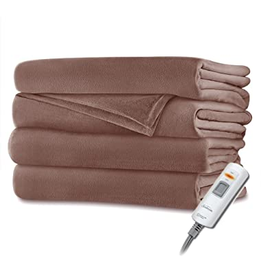Sunbeam Velvet Plush Heated Throw Blanket 60  x 50  (Various Colors) (Brown Solid)