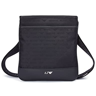 1896e81aa8b7 Armani Jeans Mens Black Logo Small Stash Cross Body Bag  Amazon.co.uk   Clothing