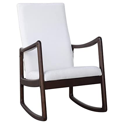 Marvelous Homcom Modern Wood Rocking Chair Indoor Porch Furniture For Living Room Coffee Brown White With Cushion Bralicious Painted Fabric Chair Ideas Braliciousco