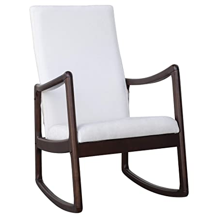 HOMCOM Modern Wood Rocking Chair Indoor Porch Furniture for Living Room -Coffee Brown White with Cushion