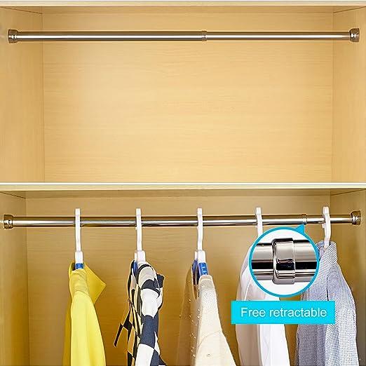 STARTOSTAR Barra de Armario Ajustable de 21.6 a 40.5 Pulgadas de Acero Inoxidable con Extremos sonrientes y Amortiguador Deslizante para armarios, armarios de Zapatos (Plata): Amazon.es: Hogar