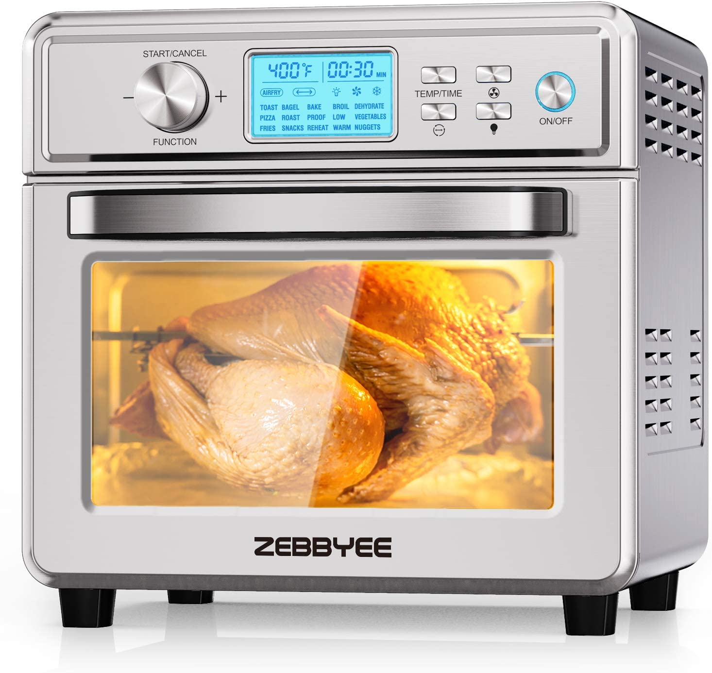 Zebbyee Convection Oven, 22.2QT Air Fryer Oven, 16-in-1 Toaster Oven Airfryer Combo, 1700W Stainless Steel Oven with Temperature Control, Thawing, Defrost, Dehydrate, 5 Accessories. ETL Certified