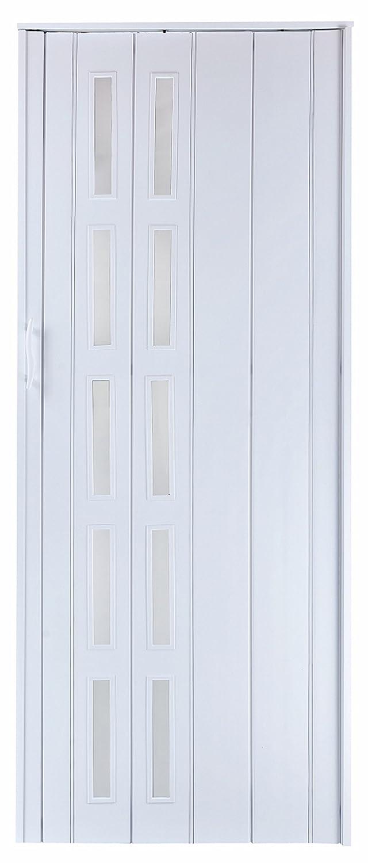 Faltt/ür Schiebet/ür T/ür weiss farben mit Fenster blickdicht H/öhe 202 cm Einbaubreite bis 94 cm Doppelwandprofil Neu