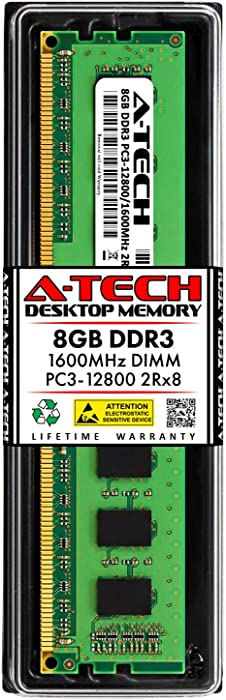A-Tech 8GB DDR3 1600MHz DIMM PC3-12800 UDIMM Non-ECC 2Rx8 Dual Rank 1.5V CL11 240-Pin Desktop Computer RAM Memory Upgrade Module