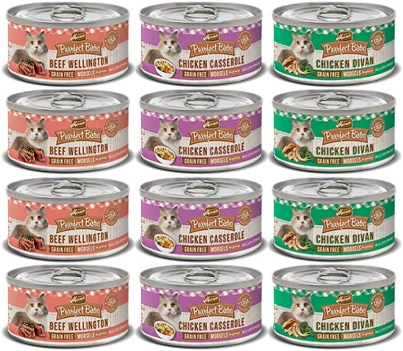 Merrick Purrfect Bistro Cat Food- Canned Variety Pack – Flavors Chicken Divan, Beef Wellington, Chicken Casserole – 5.5 Ounces Each 12 Total Cans