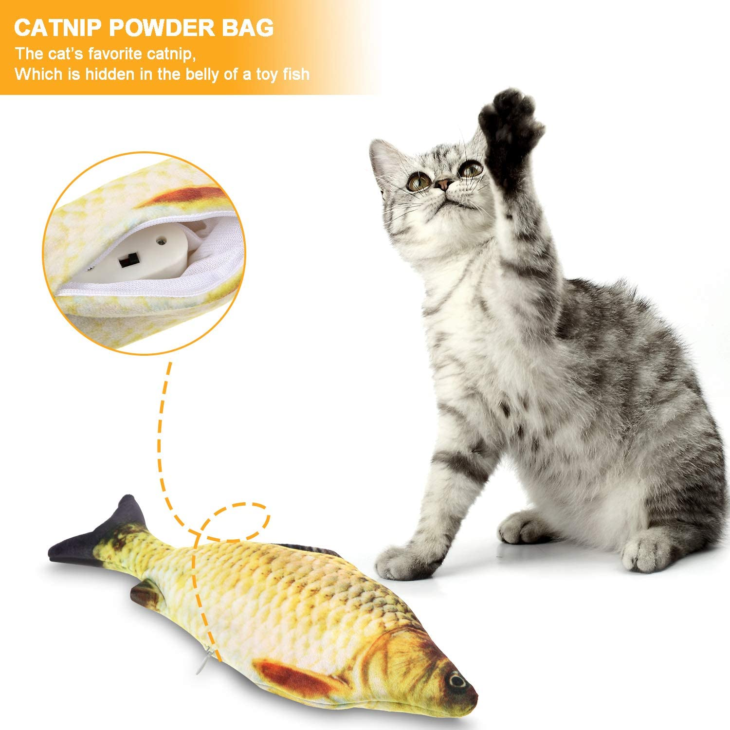 Gejoy 4 Pieces Electric Moving Fish Cat Toy and Realistic