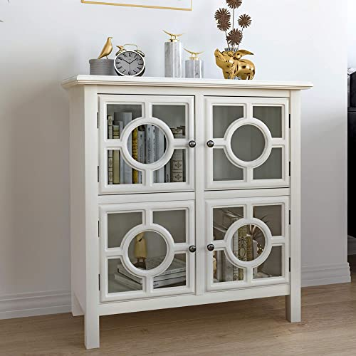 COZAYH Full-Assembled Accent Cabinet, Storage Cabinet Display Cabinet w Tempered Glass Panel Doors, Elegant Circle Pattern Overlays and Metal Hardware