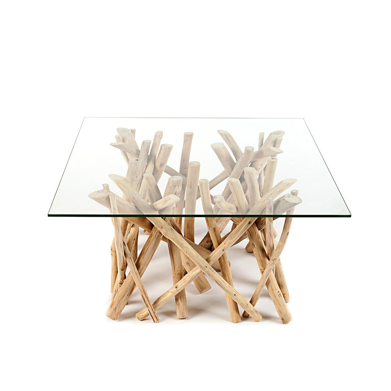 Design Teakholz Couchtisch DRIFTWOOD mit Glasplatte eckig Tisch ...
