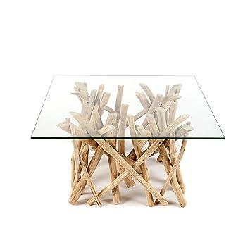 Teakholzmöbel küche  Design Teakholz Couchtisch DRIFTWOOD mit Glasplatte eckig Tisch ...