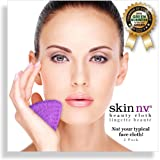 Face Cloths | Makeup Remover and Exfoliator, reusable | Facial Beauty Cloth - 2 pack in PURPLE | Reusable, Exfoliating, Fluff-free, Super Soft Face Cloths | Award-Winning Organic Company | Makeup Eraser and Eye Makeup Removal | Microfiber Face Wash Cloth | Scent Free, Hypoallergenic