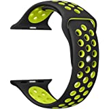 Shopizone Replacement Sports Silicone Bracelet Strap for Apple Watch Series 1 2 3 4 (Black and Yellow, 42/44 mm)