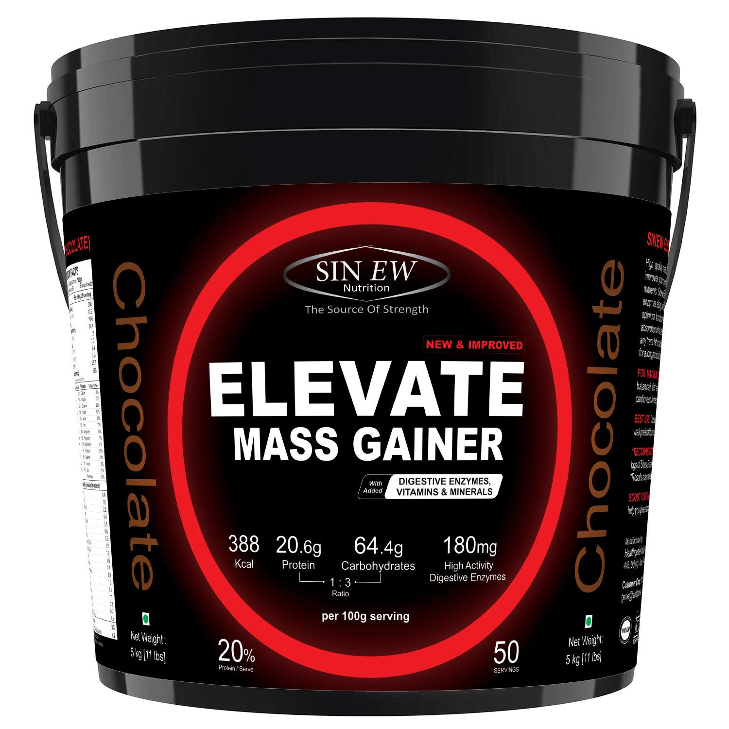Sinew Nutrition Elevate Mass Gainer With Digestive Enzymes, 5 Kg (Chocolate Flavour)