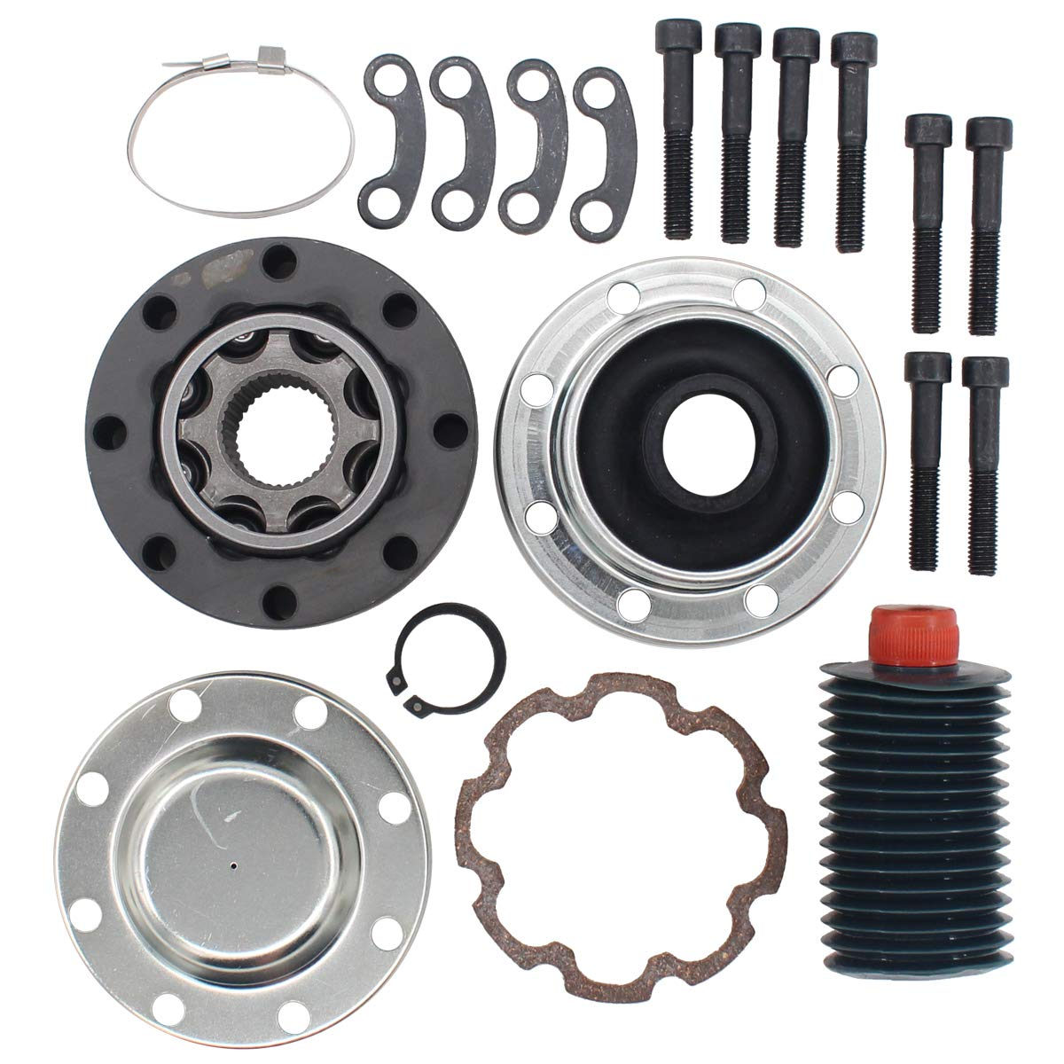 NewYall Front or Rear Driveshaft Propeller Bolt Constant Velocity Joint Boot Lock Tie and Grease Set