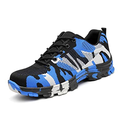 0437679d63ba SUADEX Steel Toe Shoes Men, Women's Work Safety Industrial and Construction  Sneakers, Outdoor Hiking Trekking Trail Composite Shoes, Blue-43