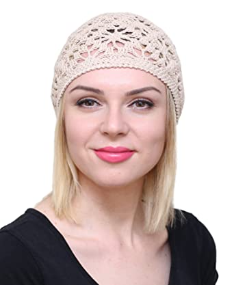 NFB Cotton Hats for Women Ladies Summer Beanie Lace Cloche Hair Accessories  Cap (Beige) f99b8cd5127