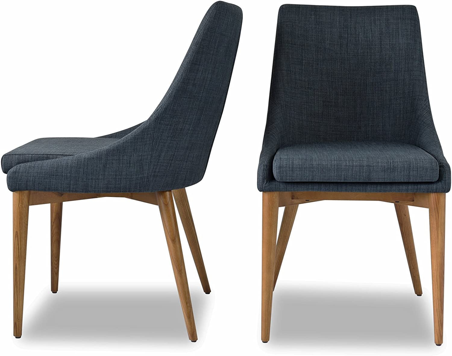 Upholstered Dining Chairs – Mid Century Modern Dining Room Chairs – Set of 2 – Dark Grey Fabric – Solid Wooden Legs – EDLOE FINCH