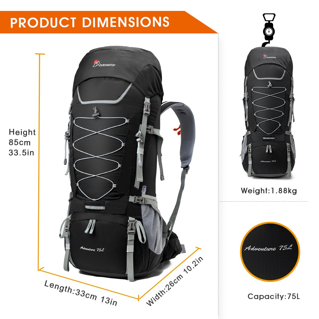 Amazon.com : Mountaintop 80L Internal Frame Backpack Hiking Backpack ...