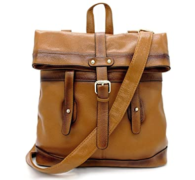 0441bcaceace Amazon.com  La Poet Women s Genuine Leather 3-way Convertible Shoulder  Crossbody Bag Tote Backpack Purse Rucksack (Camel)  Shoes