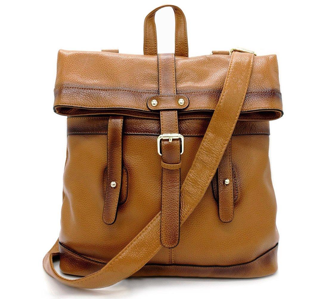La Poet Women's Genuine Leather Convertible Shoulder Crossbody Bag Tote Backpack