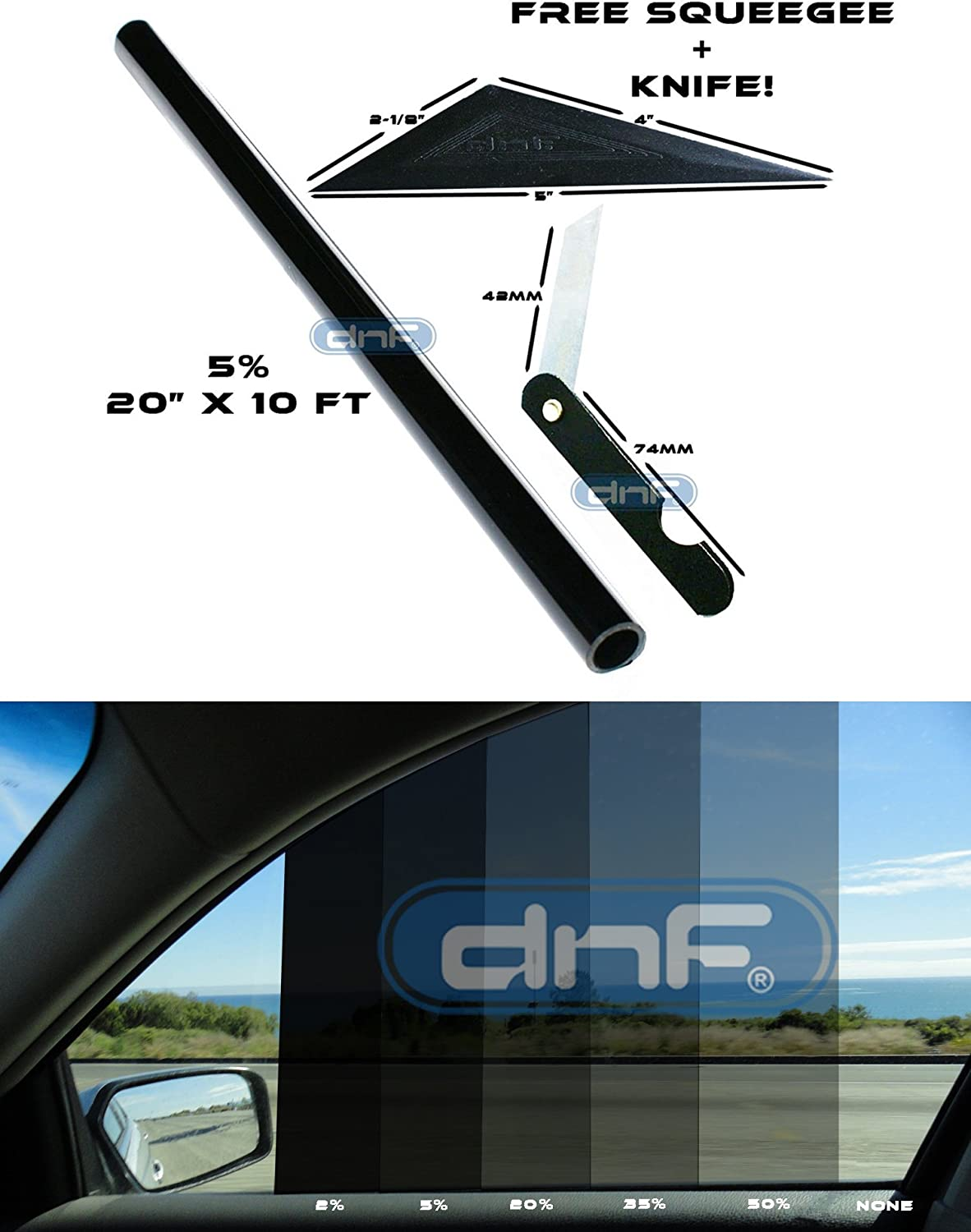 DNF 1 PLY Black 20/% 30 X 100 Feet Window Tint Film with Free DNF Tri-Edge Squeegee