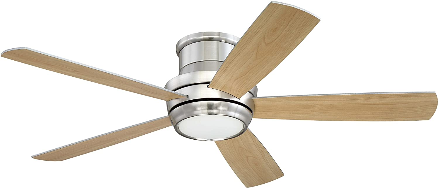 Craftmade Tmph52bnk5 Tempo 52 Brushed Polished Nickel Flush Mount Ceiling Fan With Led Light Rem Com