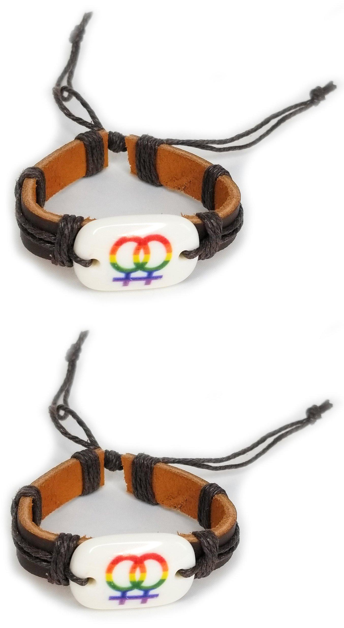 RPI Cute LGBT Lesbian Bracelete Cuff, Rainbow Gay Pride Lesbian Love Bracelet for Her (Two Brown)