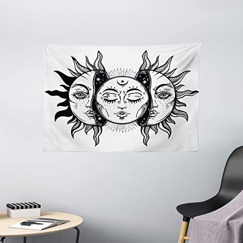 Ambesonne Moon Tapestry, Monochrome Sun and Moon Pattern Oriental Image Culture Inspired Design Print, Wide Wall Hanging for Bedroom Living Room Dorm, 60 X 40 , White Black