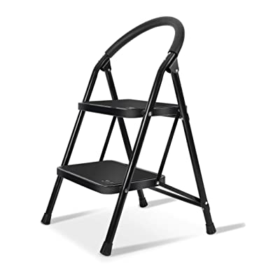 Lightweight 2 Step Ladder Steel Folding Anti-Slip Pedal 330lbs Capacity Ladder for Kitchen