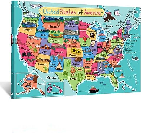 Cartina Geografica Degli Stati Uniti Di America.Kreative Arts Stampa Artistica Su Tela Da Parete Con Mappa Degli Stati Uniti D America Pronta Da Appendere Per Pareti In Classe 61 X 91 Cm Amazon It Amazon It