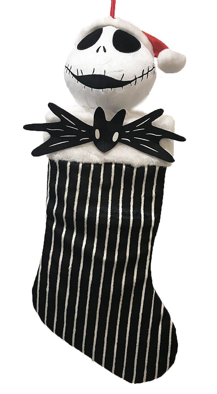 Disney Tim Burtons The Nightmare Before Christmas Jack Skellington Hanging Stocking (Black Stripe)