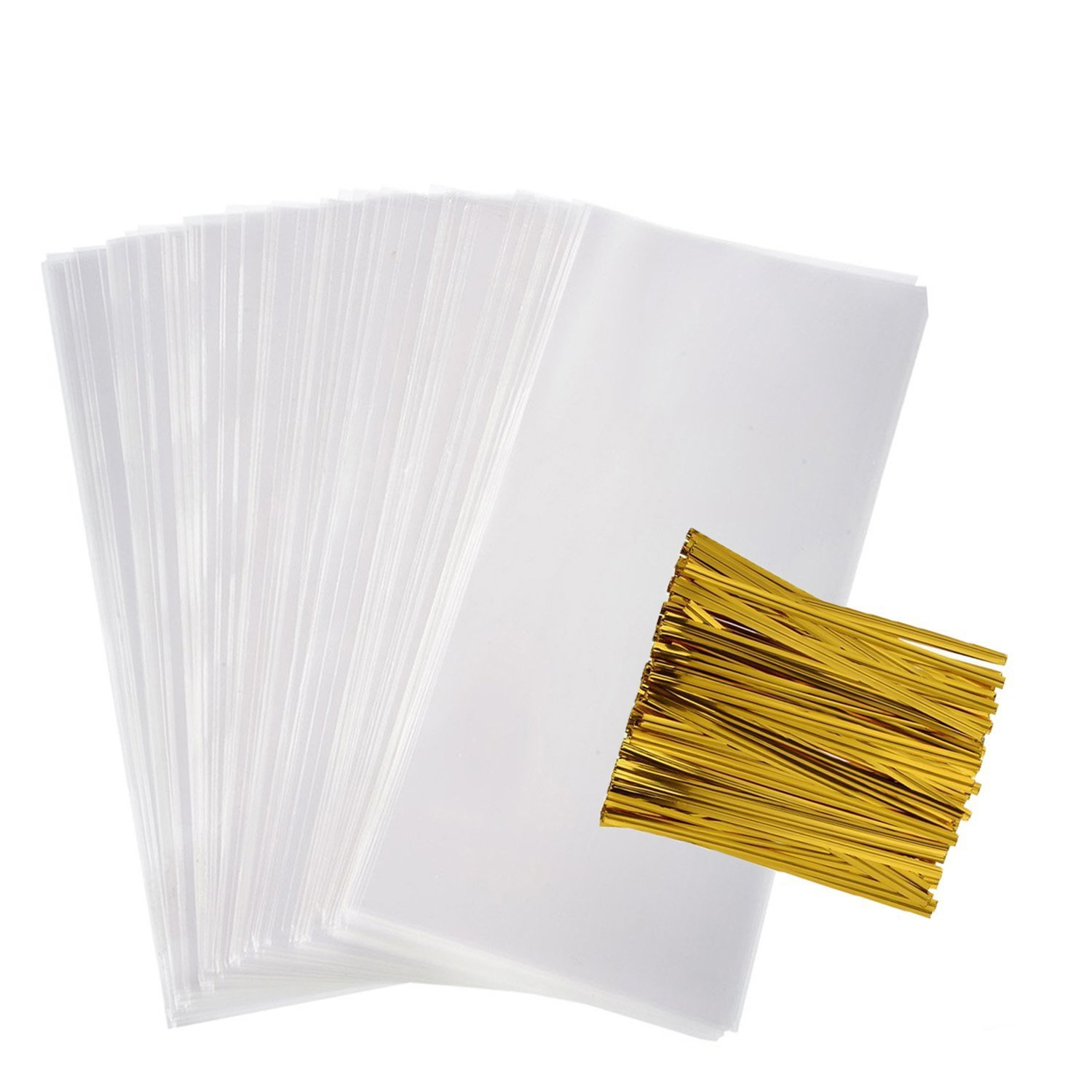 Clear Flat Bags Cellophane Bags 200 PCS Clear Cello Treat Bags Party Favor Flat Bags for Gift Bakery Cookies Candies Dessert with 200 PCS Metallic Twist Ties (4 by 9 inch)