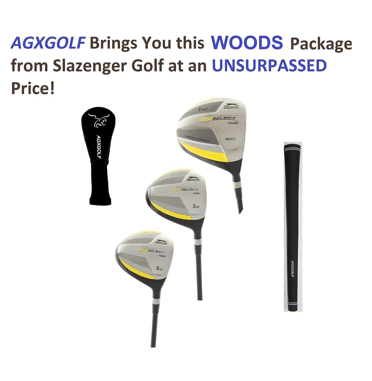 SlazengerメンズTour Select Woodsセットw460cc over sizedチタンドライバー+ 3 & 5 Fairway Woods :グラファイトシャフト+ヘッドカバー右手、Cadet、通常または長、Senior、レギュラーor Stiffフレックス B07765BXKQ スティッフ