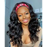 Body Wave Headband Wig Synthetic Natural Color Long Wavy Wig for Black Women Glueless Wig with Headband Attached 180% Density