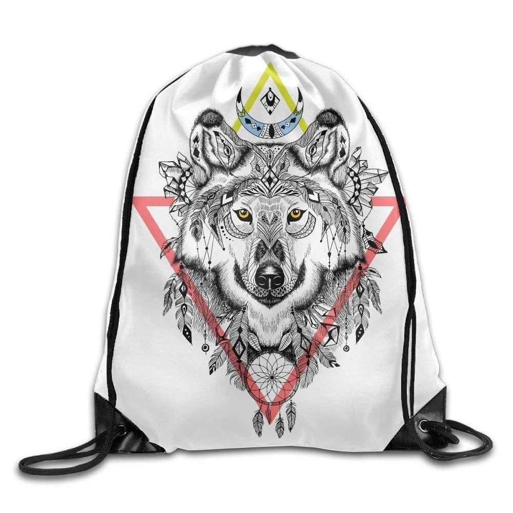 Native Wolf Design Print Drawstring Backpack Rucksack Shoulder Bags Gym Bag Sport Bag Doormat bags
