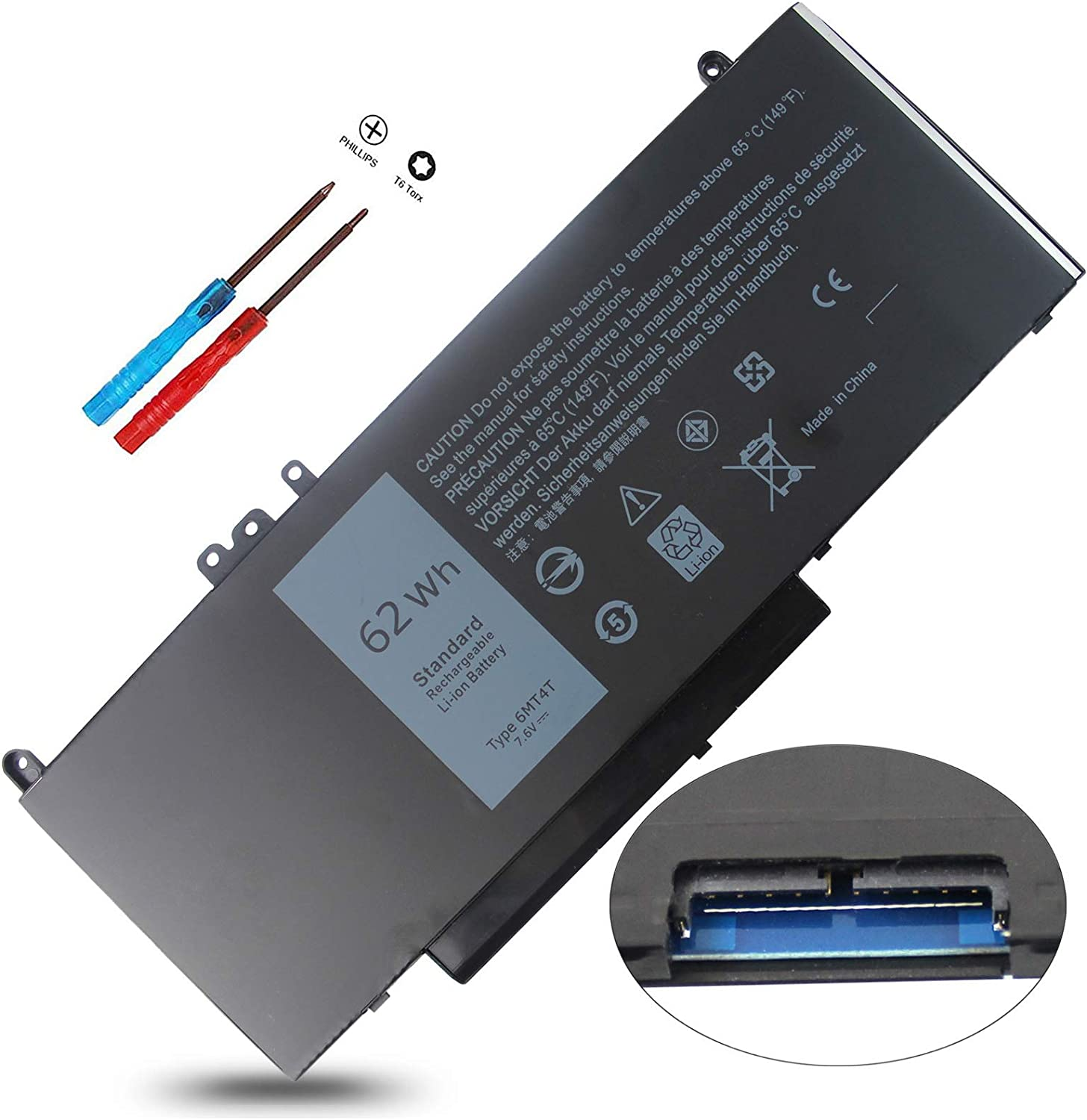 6MT4T 7V69Y E5470 E5570 Battery Compatible with Dell Latitude E5470 E5570 E5270 5470 5570 Precision 3510 M3510 62Wh, 79VRK 079VRK TXF9M 0TXF9M HK6DV 0HK6DV 07V69Y 535NC 15 14 7.6V 62Whr 4-Cell