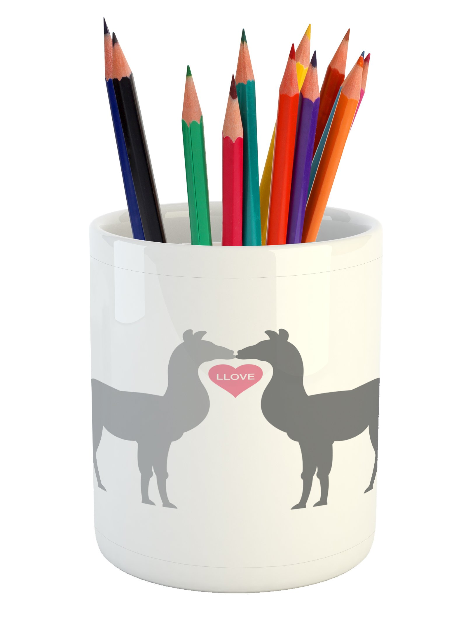 Ambesonne Llama Pencil Pen Holder, Two Animals in Love with a Heart Between Them LLove Quote Greyscale Animals, Printed Ceramic Pencil Pen Holder for Desk Office Accessory, Grey Pale Grey Pink